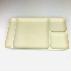 Tupperware Divided Plastic Tray Beige Vintage